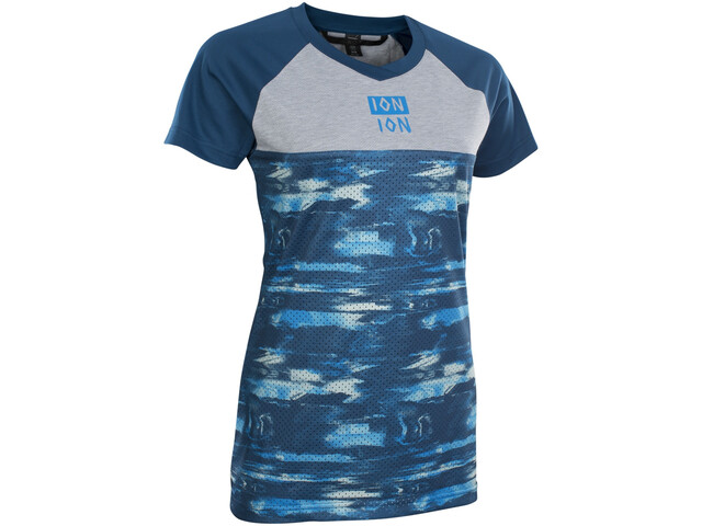 ION Scrub AMP Distortion Maillot à manches courtes Femme, ocean blue